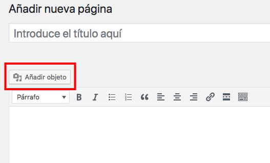 captura de añadir objeto en WordPress
